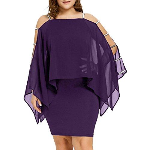 Holeider Kleid Kleider Mini Sommer Damen Frauen Plus Size Feste Leiter Cut Overlay asymmetrische trägerlosen Chiffon (5XL, Lila) -