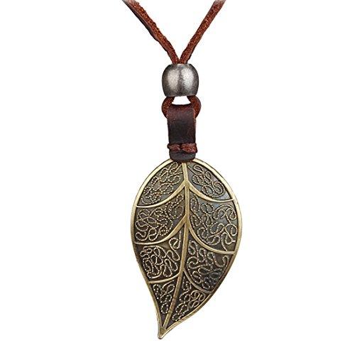 MJARTORIA Damen Halskette Herren Lederkette Surferkette Bronze Farbe Tribalkette mit Lebensbaum Blätter Ringe Feder Anhänger