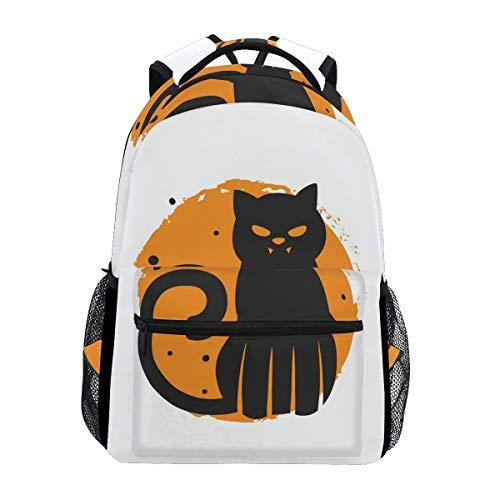 (fajro Spooky Halloween Katze Reisen Rucksack Handtasche Schule Pack)