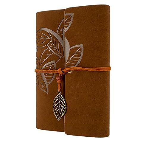 Foonii New Vintage Feuilles Mystérieuses Notebook Journal Journal Blank Agenda Jotter Cahier Corde une (Brun foncé)