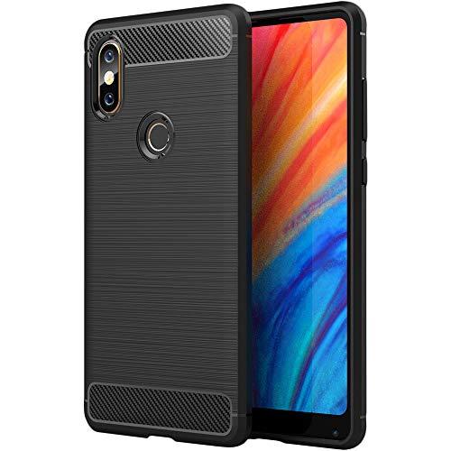 ebestStar - Funda Xiaomi Mi Mix 2S Carcasa Silicona Gel, Protección Diseño Fibra Carbono Premium Ultra Slim Case, Negro [Aparato: 150.9 x 74.9 x 8.1mm, 5.99'']