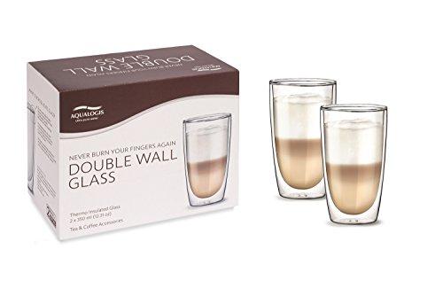 Aqualogis double paroi isotherme – Latte Macchiato en verre 350 ml, Lot de 2