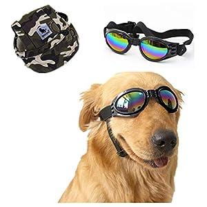 NUMAMA Lunettes de Soleil pour Chien et Chapeau de Baseball, Lunettes Pliables pour Animal Domestique avec Sangle réglable de Protection UV Lunettes Coupe-Vent
