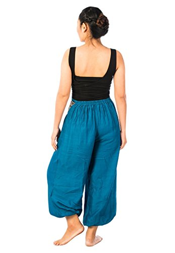 Lofbaz Damen Elefanten Muster Gürtel Harem Hosen Feste Blau