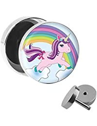 Pendiente con diseño de unicorno y arcoiris, modelo fake plug, diámetro 10 mm,