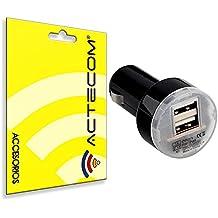 ACTECOM® CARGADOR COCHE DOBLE USB MECHERO NEGRO PARA SMARTPHONES MOVILES GPS TABLETAS