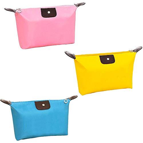 TRIXES Confezione da 3 beauty da viaggio, rettangolari, trucco, organiser, porta cosmetici portatile, lavabili colorati rosa giallo blu