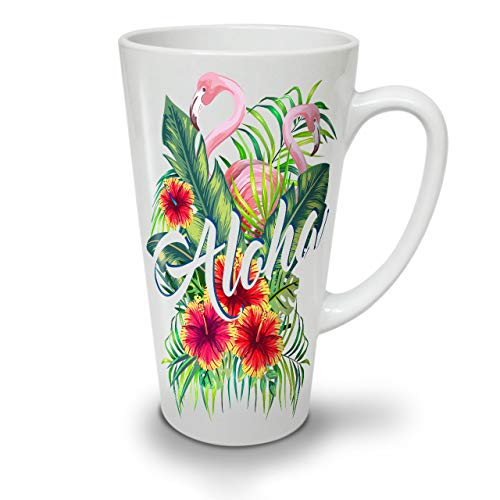 Wellcoda Hawaii Aloha Flamingo Weiß Keramisch Latte Becher 17 oz