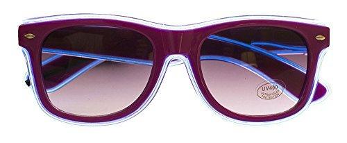 Rave Raptor LED Sunglasses Purple Frame Aqua Blue EL Wire Glasses for Festivals