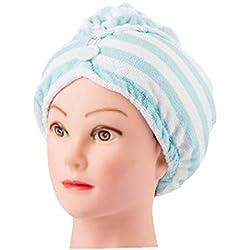 Ouken Rayas Cabello seco Gorro de Ducha Toalla de Pelo seco para Las Mujeres (Azul Claro) 1 PC