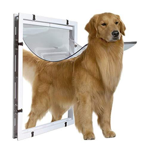 LOVEPET Große Hundetür Extra Große Haustür Tür Goldener Haar Collie Rottweiler Großer Hund In und Aus der Tür Loch Weiß 59 * 43 * 5 cm