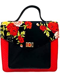 Aarka Women's Leather And Fabric Sling Bag Black And Red SB07