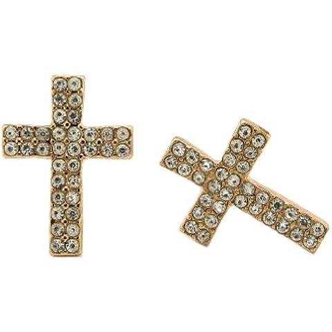 Doppia fila di pietra trasparente Orecchini a lobo a forma di croce in oro