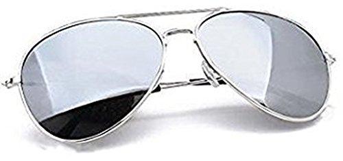 Unisexe homme, lunettes de soleil argent aviateur avec verres miroir, avec l'étui de protection, le sac en microfibre et le cordon, offrant une protection complète contre les UV400