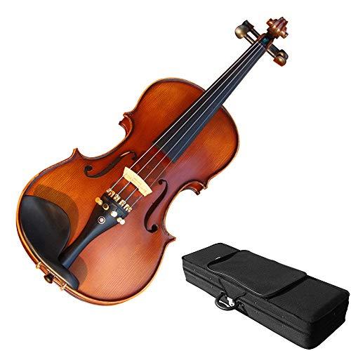 Violino Finitura massello di abete naturale naturale Handcrafted Full Size Performance Violino acustico con custodia rigida Kit di violino lucido con arco Rosin Per principianti di studenti 4/4, 3/4,