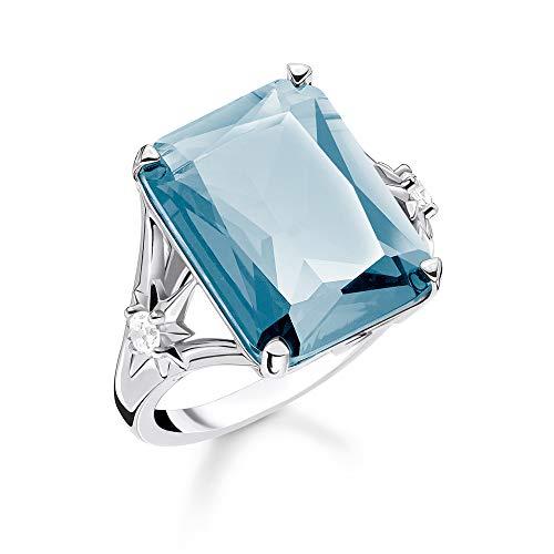 Thomas Sabo Femme Bague Pierre Bleue Grande avec étoile Argent Sterling 925, Noirci TR2261-644-31