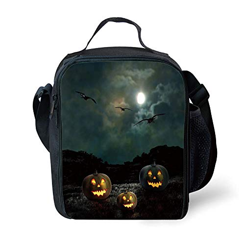 MLNHY School Supplies Halloween,Yard of an Old House at Night Majestic Moon Sky Creepy Dark Evil Face Pumpkins Decorative,Multicolor for Girls or Boys Washable