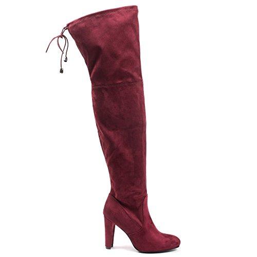 Ideal Shoes–Stivali alti effetto scamosciato, con tacchi spessi, modello Emilia Rosso