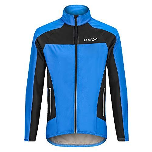 Lixada Herren Radfahren Jacke, Thermische Fahrradbekleidung mit Warm Fleece, Langarm Fahrrad Trikot mit Stehkragen, Reißverschlusstasche und 3 Rückentaschen