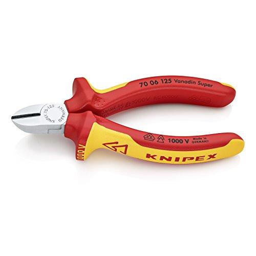 KNIPEX 70 06 125 Seitenschneider, präzises Schneiden bis Ø 3,0 mm, isoliert und VDE-geprüft, 125 mm