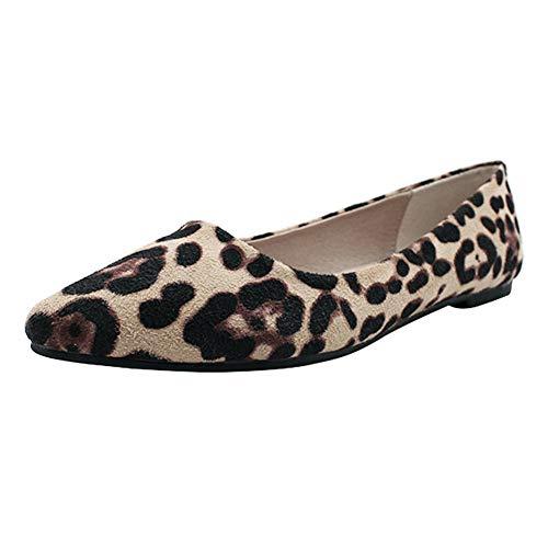 Uirend Zapatos Mujer Mocasines - Pisos Gamuza Acentuado Estampado Leopardo Informal Confort Ballet Slip-on...