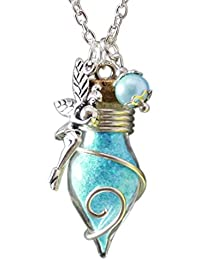 Katharina Fairytale Lucky Charm, Ladies And Girls Necklace Vial Of The Light Fairy, Glow-In-The-Dark Amulet Talisman Pendant Fairy Dust, Blue Turquoise