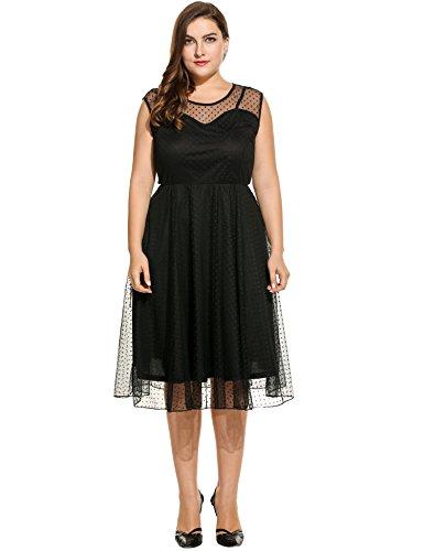Meaneor Damen Plus Size Midikleid Sommer Netz Garn Kleid mit Punkte (Gr.XL-4XL)