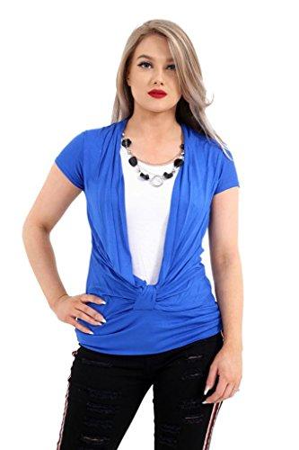 Momo&Ayat Fashions Camicia - Basic - Maniche Corte - Donna Royal Blue/White