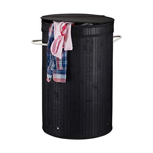 Relaxdays Wäschekorb mit Deckel, runder Wäschesammler, Wäschesack, f. Schmutzwäsche, 65 Liter, Wäschetonne XXL, schwarz