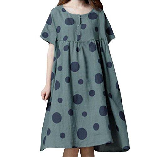 Damen Plus Size Lässige Lösen Kleid Polka Dot Print Lange Baumwolle Leinenkleid