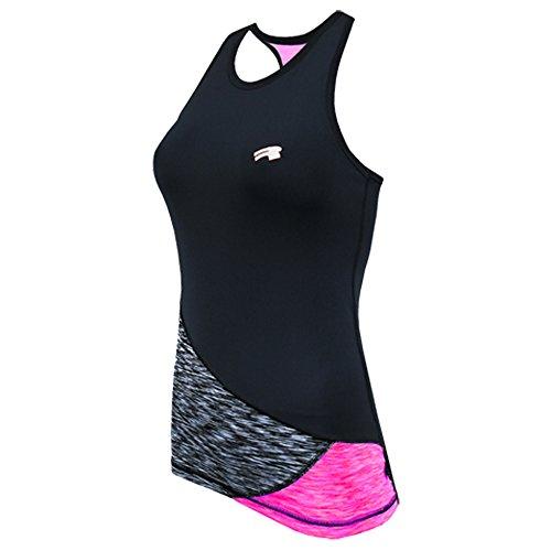 ROUGH RADICAL Damen Funktionsshirt Sportshirt Reaction Tank TOP (M, schwarz/grau/pink)