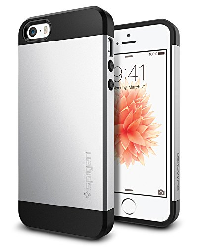 iPhone SE Hülle, Spigen® iPhone 5S/5/SE Hülle [Slim Armor] Dual-Layer Schutz [Satin Silber] Luftpolster-Technologie an den Kanten / 2-teiliges Case Schutzhülle für iPhone SE, iPhone 5S, iPhone 5 - Satin Silver (041CS20249)