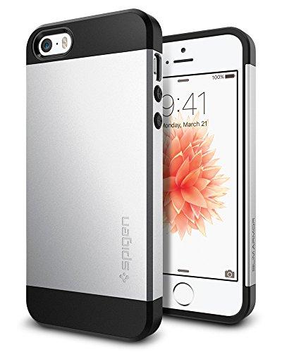 iPhone SE Hülle, Spigen® iPhone 5S/5/SE Hülle Dual-Layer Schutz 2-teiliges Case Schutzhülle Satin Silver (041CS20249)