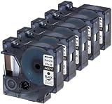 5 Kassetten D1 45010 schwarz auf transparent 12mm x 7m Schriftband kompatibel für DYMO LabelManager LM 100, 110, 120P, 150, 155, 160, 200, 210D, 220P, 260, 260D, 280, 300, 350, 350D, 360D, 400, 420P, 450, 450D, 500TS, PC, PC2, PnP, PnP Wireless, LabelPoint LP 100, 150, 200, 250, 300, 350, LabelWriter LW 400 Duo, 450 Duo Beschriftungsgerät