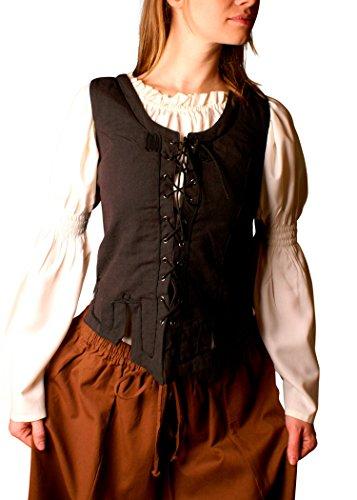 Kostüm Gemeinde - Miederweste aus Baumwolle, schwarz Gr. S-XL - Mieder, Trachten Weste Größe XXL