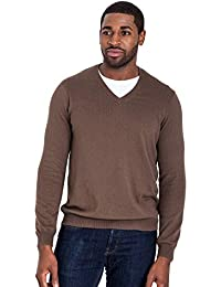 WoolOvers Pull à col V - Homme - Cachemire & coton Mocha, M