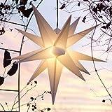 Mit LED Außenstern Stern Outdoor weiss - beleuchteter Stern 55-60 cm Weihnachtsstern Leuchtstern Faltstern mit Leuchtmittel LED (StaRt-NDL-DUH-E14-C3,5W), 104 Dioden