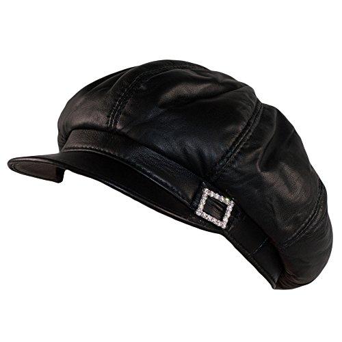 Dazoriginal Baker Boy Mujer Boina Cuero Gorra Negra Piel Gatsby Beret Sombrero