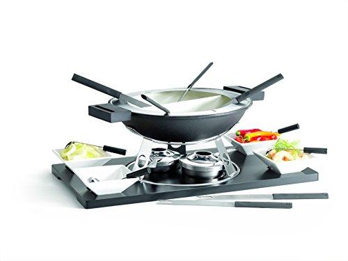 Domestic 925120 - Juego de fondue, 20 piezas, bandeja de DM, calientaplatos, recipiente principal, protección antisalpicaduras, 2 quemadores, 4 cuencos, 4 cucharas y 6 tenedores, color gris