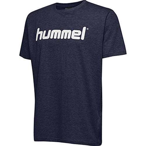 Marine-blau-kinder T-shirt (hummel Kinder HMLGO Kids Cotton Logo T-Shirts, Marine, 128)