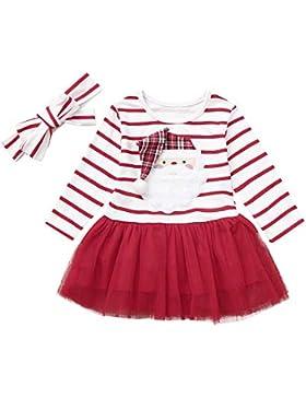 Huhu833 Baby Kleid 2 Stück Weihnachten Infant Baby Mädchen Kleid Streifen Cartoon Santa Xmas gestreiften Tutu...