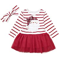 Princesa Vestido de Fiesta Niña Infant Baby Girls Cartoon Santa Christmas Xmas Rayas Tutu Tulle Dress Outfits