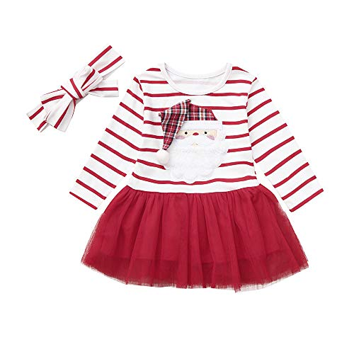 Baby Mädchen Cartoon Santa Xmas Gestreifte Tutu Tüll Kleid Outfits Applique Gestreiftes Unterrock Princess Rock + Haarband Babykleidung ()