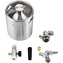 Fdit Barrilete de Cerveza de Acero Inoxidable de 2l Mini con Sistema Presurizado de Dispensador de