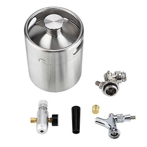 2L Mini Bierfass, Rostfreier Stahl Bier Fass Spender Bier Fass mit Wasserhahn unter Druck Gesetzt Zuhause Brauen Kunst Bier Spender System für Fermentieren Speichern und Abgabe Kunst Bier -
