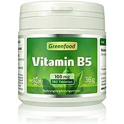 Vitamin B5 (Pantothensäure), 100 mg, hochdosiert, 180 Tabletten, vegan – für Gelassenheit, Nervenstärke und seidenweiche Haut. OHNE künstliche Zusätze. Ohne Gentechnik.