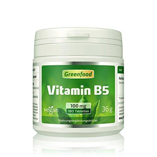 Vitamin B5 (Pantothensäure), 100 mg, hochdosiert, 180 Tabletten, vegan – für Gelassenheit, Nervenstärke und seidenweiche Haut. OHNE künstliche Zusätze. Ohne Gentechnik. Test