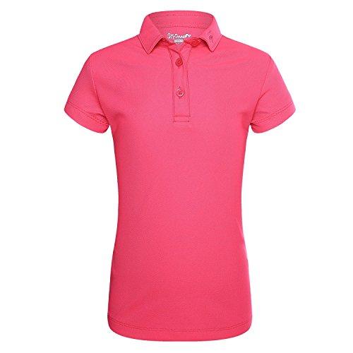 JITIMAO Mädchen Polo Shirts Golf Funktional T-Shirt, Roserot - 140