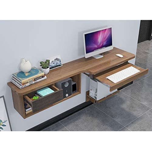 Schwimmender Computertisch Wandmontierter Eckschreibtisch mit Schubladen und Aufbewahrungsregal Heimbüro-Laptop-Schreibtisch Computerarbeitsplatz Schreibtisch mit Tastaturablage und CPU-Ständer -