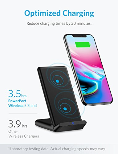 Cargador inalámbrico Anker PowerPort Wireless 5 Stand  optimizado para iPhone 8/8 Plus  iPhone X  también para usar con Galaxy Note 5  S7 / S7 edge / S6 / S6 edge / S6 edge +  Nexus 4/5/6/7  LG G3 y otros dispositivos